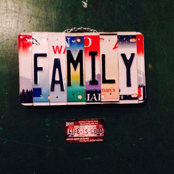 Family . Sign. Decor. Custom. Ohana. Love. Wood. Metal. Home. Licenseplate