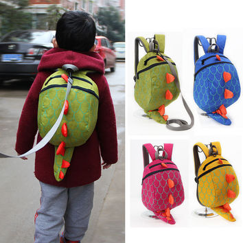 New 3D Cartoon Dinosaur Baby Toddler Anti lost Leash Harness Strap Walker Baby Lunch Box Bag Kindergarten Schoolbag Backpack