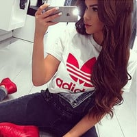 "Women Fashion ""Adidas"" T-Shirt Top White red"