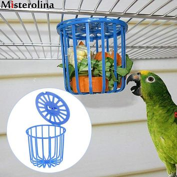 Bird Parrot Feeder Cage Fruit Vegetable Holder Cage Accessories Hanging Basket Container Toys Pet Parrot Feeder Cage Supplies