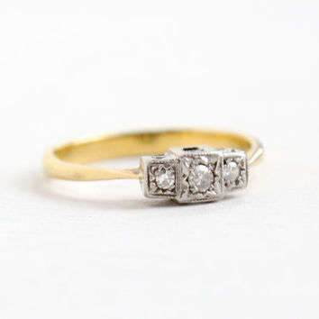 Antique 18k White and Yellow Gold British Triple Diamond Ring- Vintage Art Deco 1940s Birmingham Fine Engagement Jewelry