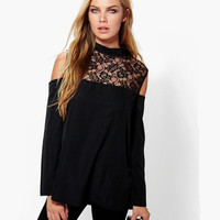 Black Cold Shoulder High Neck Lace Blouse