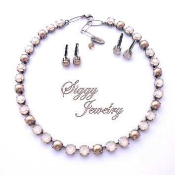 Swarovski Crystal Necklace, And/Or Tennis Bracelet 8mm Ivory Cream, Bronze Pearls, Beige, Tan, Neutrals, Select A Finish, CAFE AU LAIT