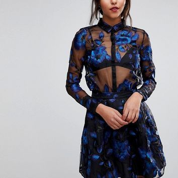 Y.A.S Floral Embroidered Sheer Blouse at asos.com
