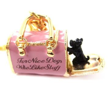 Pet Dog Carrier Shaped Locket Pendant Necklace in Pink   Limited Edition Jewelry