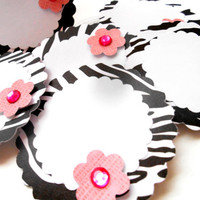 Adhesive Zebra Print Labels, w/ 3D Pink Flowers and Hot Pink Rhinstone - Set of 6 Gift Tags, Baby Shower favors, Zebra Print Baby Shower