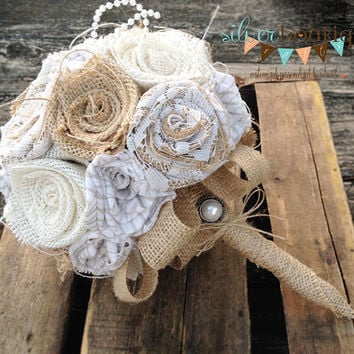 Lace Wedding Bouquet, Burlap Bouquet, Wedding Burlap Bouquet Wrap, Rustic Burlap Bouquet, Burlap, Wedding, Bride, Groom, Favor, Bridesmaid