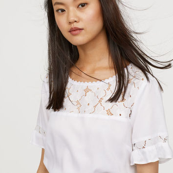 H&M Viscose Blouse with Lace $17.99