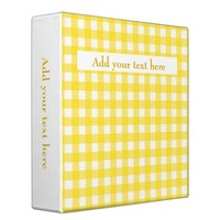 Custom Add Your Text Sunny Yellow Gingham Pattern 3 Ring Binder