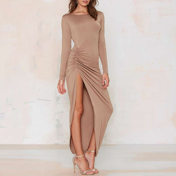 Long Sleeves Cut-out Ruched High Slit  Maxi Dress