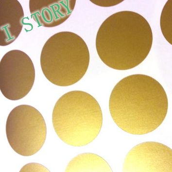 Polka Dot Wall Sticker Gold Wall Decal , Peel and Stick Metallic Gold Polka Dot Wall Sticker Home Decor