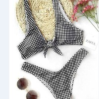 Sexy Beach Summer Swimsuit New Arrival Hot Print Plaid Bikini [269341753370]