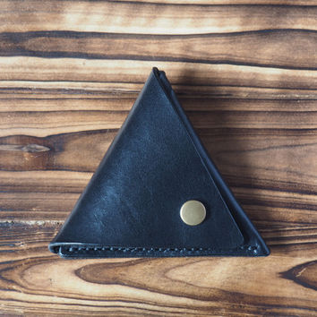 Leather Triangle Coin Purse #Black