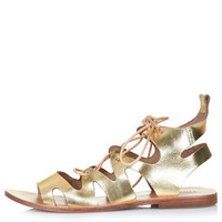 FIG Lace-Up Sandals - Gold