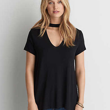 AEO Soft & Sexy Choker T-Shirt, True Black