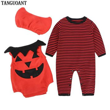 TANGUOANT Kids Halloween Clothing Set Baby Boy Girls Romper Pumpkin Cosplay Costume Cotton Cartoon Suit Clothes