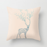 Blue Deer Throw Pillow by Huebucket