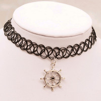 Tattoo Choker Necklace with Rudder Pendant + Gift Box-31