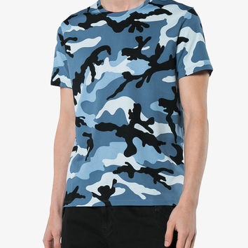 Valentino Blue Camouflage Print Short Sleeve Cotton t Shirt - Farfetch
