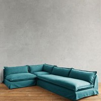 Basketweave Linen Tassa Sectional by Anthropologie