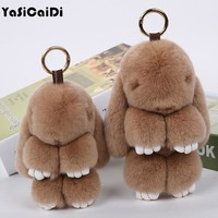 YASICAIDI Natural Rex Rabbit Furs Bunny Bag's Accessories Pendant Cute Trinket Charm Famous Brand Cut Organizers in Leather Bags