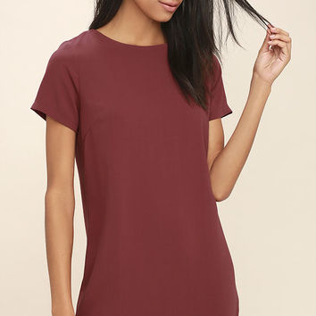 Shift and Shout Marsala Shift Dress