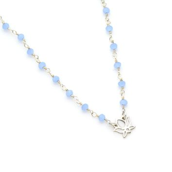 Yoga Charm Sterling Silver Beaded Chain Necklace