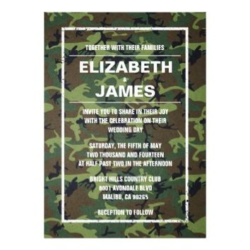 Rustic Vintage Camo Wedding Invitations