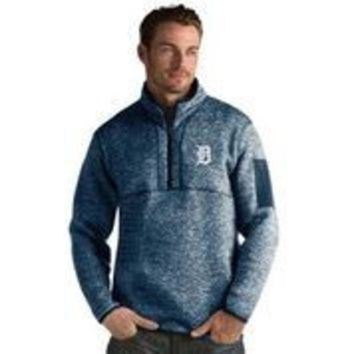ESBON MLB Antigua Detroit Tigers Men's Fortune1/4 Zip Pullover Wool and Fleece Jacket