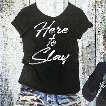 Here To Slay Raw Edge Off Shoulder Tee - Womens Off Shoulder TShirt - Sexy Tee - Yoga Shirt - Gym TShirt - Pilates Tee - Workout Shirt