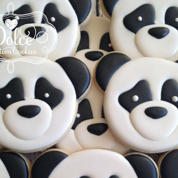 Panda Bear First Birthday Birthday Cookies