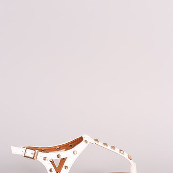 Bamboo Studded T-Strap Flat Sandal