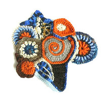 Free Form Crochet big applique, orange, blue, scrapbooking,wedding decorations,