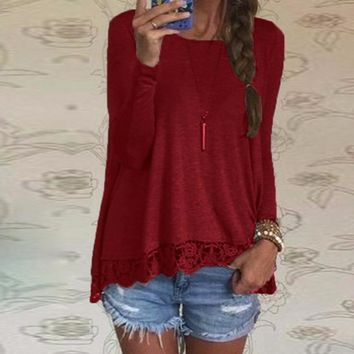Women's Casual Wine Burgundy Lace Bottom Long Sleeve T-Shirt Top