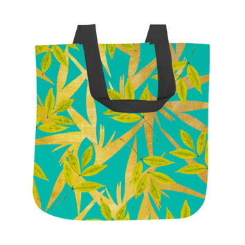 Gold and Teal Florals Tote Bag