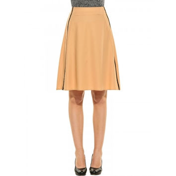 Women Elegant High Waist Solid Knee Length A-Line Skirt