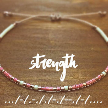 Strength Morse Code Bracelet - Best Friend Gift - Friendship Bracelet - Inspirational Bracelet - Best Friend Bracelet - beaded Bracelet