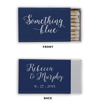 Something Blue Matchbox Wedding Favors - Foil Stamped Matches Bridal Shower Gift Personalized Matchboxes Rehearsal Custom Colors
