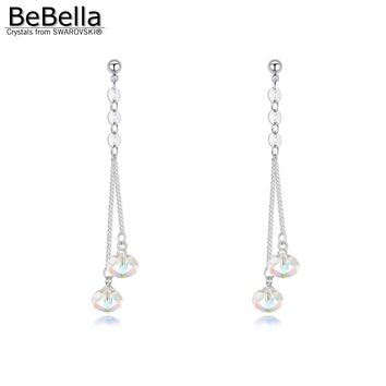 BeBella crystal briolette beads dangler pendant earrings made with Austrian crystals from Swarovski women bride wedding jewelry