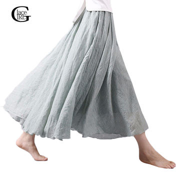 Lace Girl Fashion Women Linen Cotton Long Skirts Autumn Women Pleated Maxi Skirts Retro Ladies Slim Elastic Waist Casual Skirt