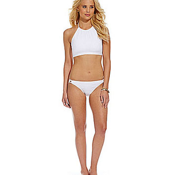 Cremieux Solid High-Neck Crop Halter & Loop-Side Bottom | Dillards.com