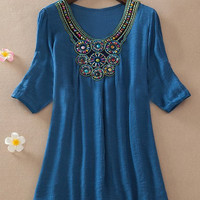 Solid Color Beaded Vintage Blouse