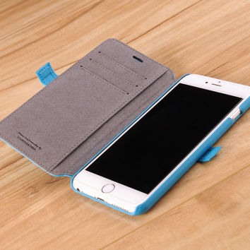 iPhone 6(s) Plus Genuine Leather Book Style Wallet Phone Case - Cerulean Turquoise on Gray Lining