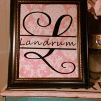 11 x 14 inch Framed monogram with fabric background