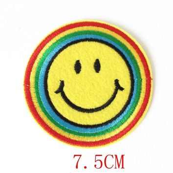 90s Happy Hippy Rainbow Smiley Face Iron-on Patch Applique Motif Fabric Children Games Dartboard Decal