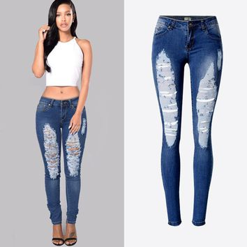 American Style Slim Fit Hole Denim Pant Stylish Hot Sexy Lady Jeans Big and Tall Women Denim Trousers Cheap Free Shipping S2377