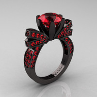 French 14K Black Gold 3.0 CT Rubies Engagement Ring, Wedding Ring R382-14KBGRR
