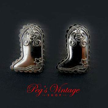 Cowboy/Cowgirl Boot Earrings, Vintage Silver Tone Earrings, Western Southwestern Jewelry