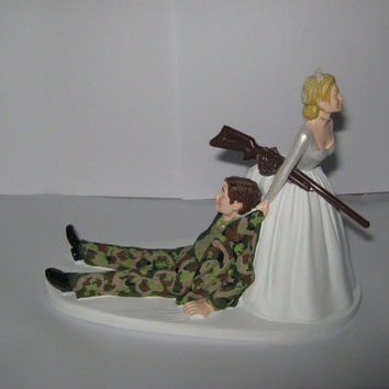 Wedding Reception Ceremony Party Redneck Camo Hunting Hunter or Military Cake Topper