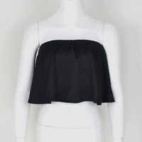 GT100  Sexy Strapless Silk Satin Tube Top Pleated Ruffle Cropped Blouse Shirt Blusa